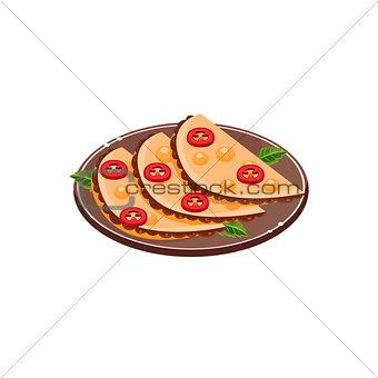 Three Quesadillas On Plate
