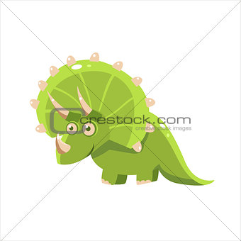 Green Happy Triceratops
