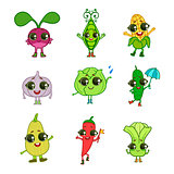 Vegetables Cartoon Characters Collection