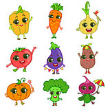 Vegetables Cartoon Characters Set