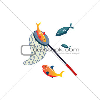 Fishing Net On Stick And Fish