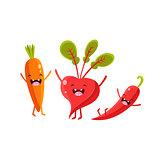 Carrot, Beetroot And Pepper Cartoon Friends