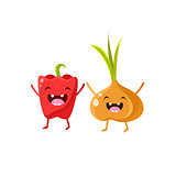 Sweet Pepper And Onion Cartoon Friends