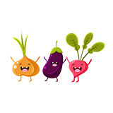 Onion, Eggplant And Radish Cartoon Friends