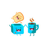 Toaster And Coffee  Cartoon Friends