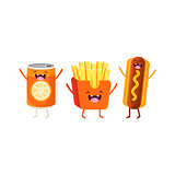 Fries, Hot dog And Soda Cartoon Friends