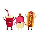 Soda, Ice-cream And Hot Dog Cartoon Friends