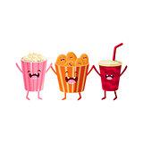 Popcorn, Soda And Chips Cartoon Friends