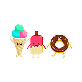 Ice-cream And Doughnut Cartoon Friends