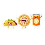 Tco, Pizza And Soda Cartoon Friends