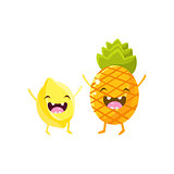 Lemon And Pineapple Cartoon Friends