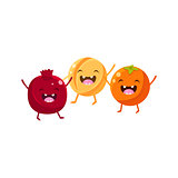 Pomegranate, Melon And Orange Cartoon Friends