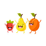 Strawberry, Pear And Plum Cartoon Friends