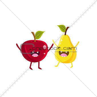 Apple And Pear Cartoon Friends