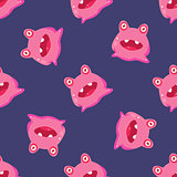 Pink Alien Seamless Pattern
