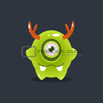 Green Alien With Antlers