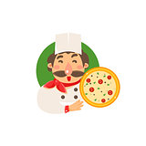 Cook Holding Pizza