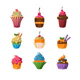 Decorated Cupcakes Sticker Set