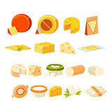 Different Cheese Icons Collection