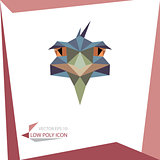 low poly animal icon. vector ostrich