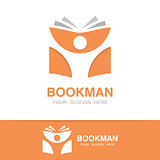 Vector open book and man logo. Education logo concept