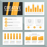 Vector business presentation template set. Graph and chart elements  template design