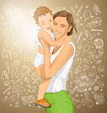 Vector Woman With Child