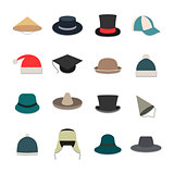 Icons hats, vector illustration.