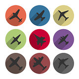 Icons airplanes, vector illustration.