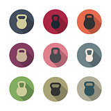 Icons kettlebells, vector illustration.