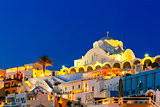 Fira, main town of Santorini at night, Greece