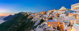 Panorama of Fira at sunset, Santorini, Greece