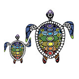 Tortoise family, zentangle for your design