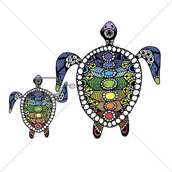 Tortoise family, zentangle for your design