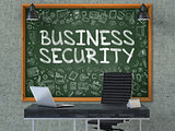 Business Security on Chalkboard with Doodle Icons.