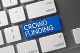 Blue Crowd Funding Button on Keyboard.