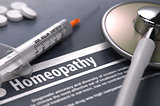 Homeopathy. Medical Concept on Grey Background.