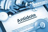 Antidote Diagnosis. Medical Concept. Composition of Medicaments.