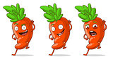 Cartoon orange funny carrot set