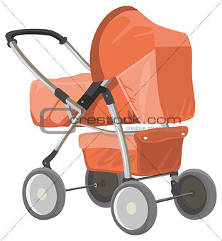 Baby carriage. Orange baby pram