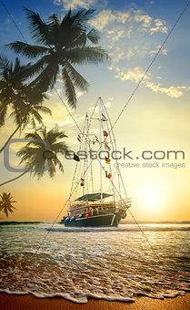 Beautiful ship in ocean