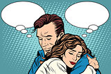 couple man and woman love hug