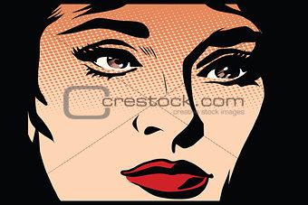 Beautiful girl face in the dark noir