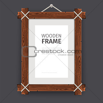 Old Wooden Rectangle Frame