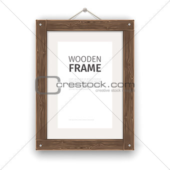 Old Wooden Rectangle Frame Light