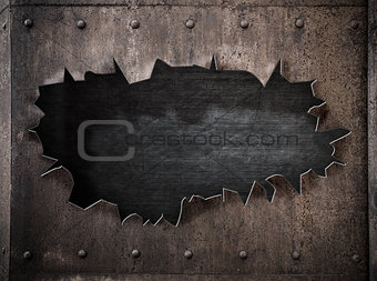 torn hole in rusty metal steam punk background