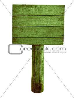 green wood road sign isolated on white