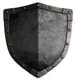medieval metal shield 3d illustration isolated