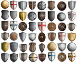 Big set of medieval knight shields isolated 3d illustration
