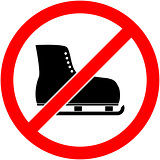 No ice skate, ice-skate prohibited symbol. Vector